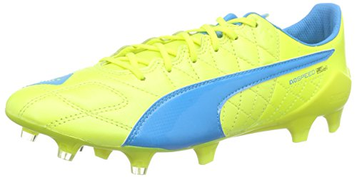Puma evoSPEED SL Lth FG - zapatillas de fútbol de piel hombre, Amarillo - Gelb (safety yellow-atomic blue-white 04), EU 44 (UK 10)