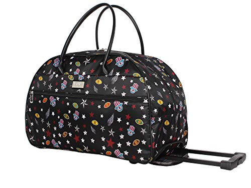 Nicole Miller Designer Carry On Luggage Collection - Lightweight Pattern 22 Inch Duffel Bag- Weekender Overnight Business Travel Suitcase with 2- Rolling Spinner Wheels (Military)