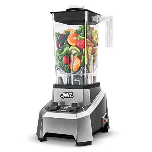 JAWZ High Performance Blender, 64 Oz Professional Grade Countertop Blender, Food Processor, Juicer, Smoothie or Nut Butter Maker, Simple 2 Speed Toggle Switch w Pulse, Stainless Steel Blades, Silver