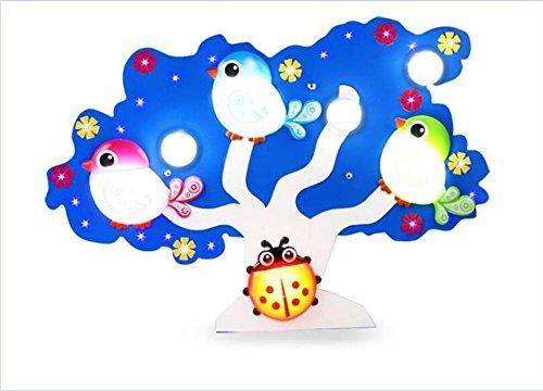 GJX Led-plafondlamp, cartoon oogbescherming, milieubescherming, creatieve birdie grote kroonluchter, kinderkamer, kleuterschool, slaapkamer, kleur plafondverlichting