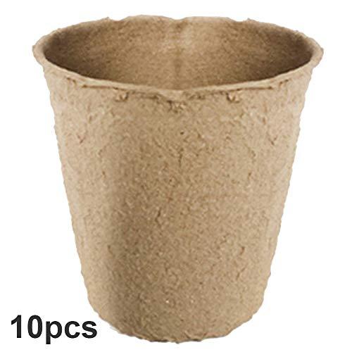 Fuyamp 6 cm runde biologisch abbaubare Pflanzentöpfe, Setzling-Tabletts für den Garten, Heimanbau, biologisch und umweltfreundlich (10 Stück)