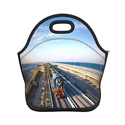 Bolsa de almuerzo portátil con patrón de tren eléctrico, bolsa de almuerzo...