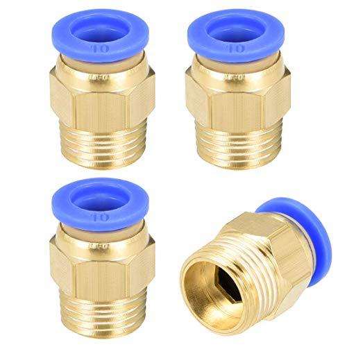 Empuje neumático recto para conectar accesorios de conexión rápida G3 / 8 macho x 10 mm tubo OD 4 piezas