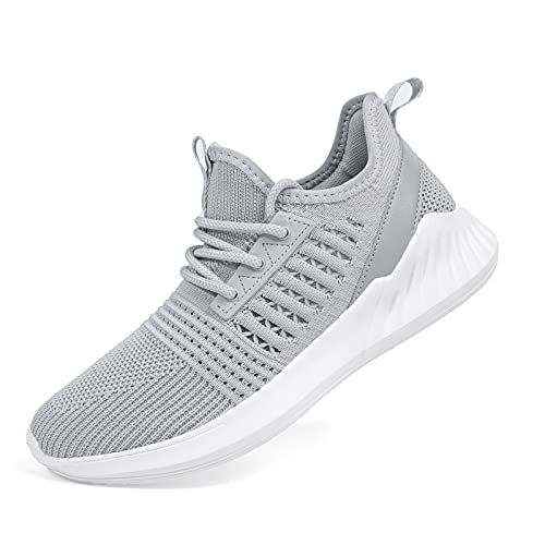 SDolphin Walking Tennis Shoes for Women Knit Casual Lace Up Walking Shoes for Driving Outing Gray Size 6