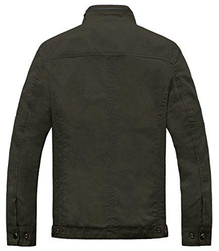 Wantdo Men's Cotton Stand Collar Lightweight Front Zip Jacket 4