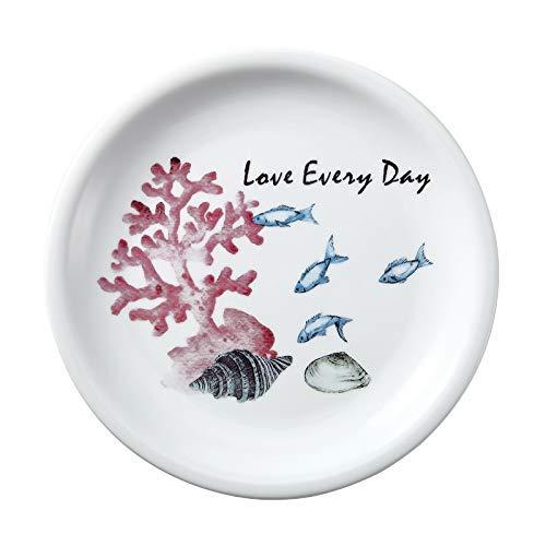 TFJJSQA Plato de cerámica especial y simple de dibujos animados Océano Plato occidental Inventario de desayuno Plato corazón Plato bajo de porcelana de hueso 22 cm Cangrejo (color coral)