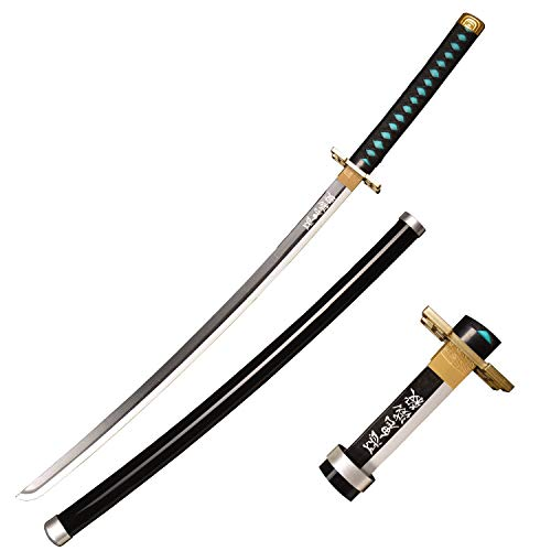 RGRGSH Wooden Cosplay Anime Swords, Tokitou Muichirou Samurai Sword, The Special Knife of Demon Slayer Sunwheel Knife with a swastika Shape Katana 40 in