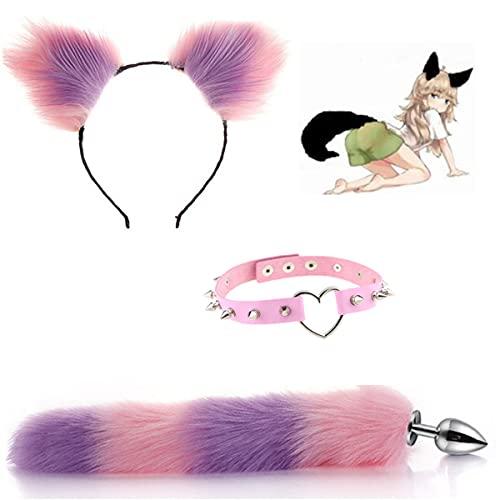 3PCS Fluffy B-tt P-l--g Diadema con cola de lobo y orejas de gato rosa-prpura con decoracin de juego Collar Cosplay Juego de roles Juguetes de Halloween