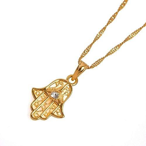 YOUZYHG co.,ltd Collar Collares Colgante y Collar pequeño de Mano para Mujer/niña Color Oro Medio Oriente Joyería árabe Señora Regalo étnico