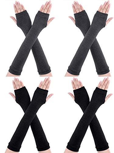 CNNIK Guantes largos sin dedos de 4 pares Guantes de punto de invierno Calentador Guantes hasta el codo Guantes con agujero para el pulgar para mujeres Niñas (negro + gris oscuro)