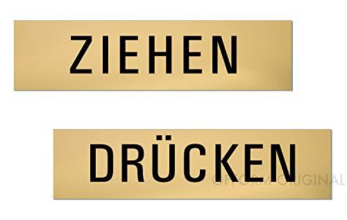 Türschild - Ziehen - Drücken | 2er-Set | oberflächenveredeltes Aluminium (eloxiert) | matt-Gold | 160x40 mm | Nr.28008-M