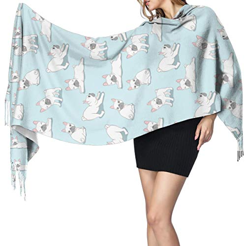 Apron bags Ladies Printed Cashmere-like Cape Dog French Bulldog Paw Repeat Oversized Shawl Wrap Cardigans for Women