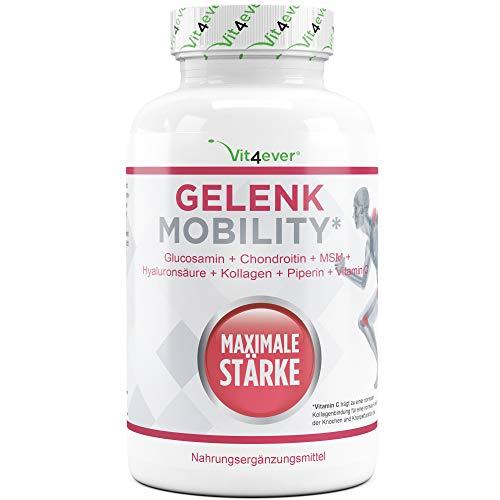 Vit4ever® Gelenk Mobility - 120 Tabletten - 4000 mg pro Tagesportion - 7 Inhaltsstoffe – Hochdosiert - Glucosamine + Chondrotin + MSM + Hyaluronsäure + Kollagen + Vitamin C + Schwarzer Pfeffer Extrakt