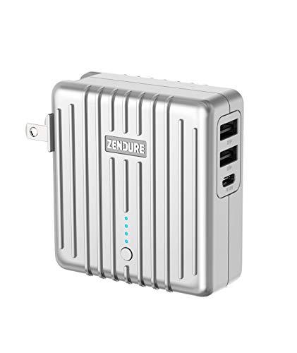 Zendure MIX 2-in-1 powerbank & oplader met 5.200 mAh (robuust, 3-poorts output-oplader met 18 W snellaadfunctie voor iPhone, iPad, Android, Nintendo Switch, USB, USB-C, handbagage geschikt), zilver