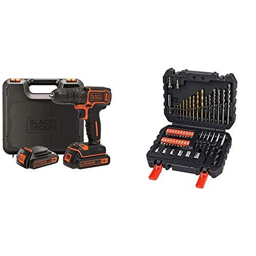 BLACK+DECKER BDCDC18KB-QW - Taladro atornillador 18V + BLACK+DECKER A7188 - Set de 50 piezas con brocas y puntas para atornillar y taladrar