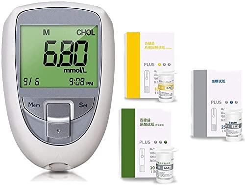 ZLLLL 3 in1 Cholesterin-Messgerät, Multifunktions-Harnsäurediabetes Cholesterin-Tester-Messgerät-Systemblutzucker-Glucose-Test für zu Hause