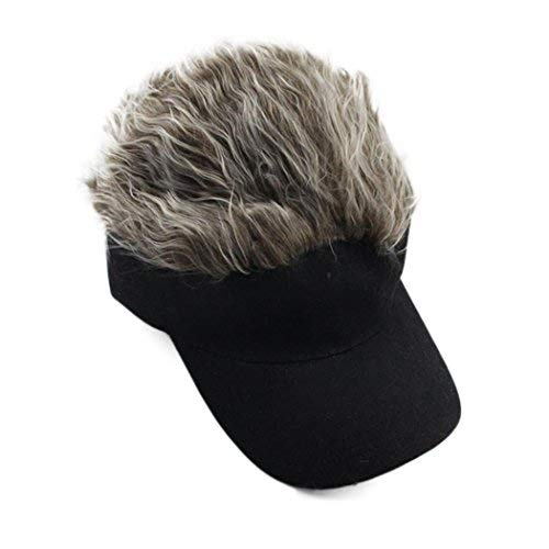 Flair Hair Sun Visor Cap with Fake Hair Wig Baseball Cap Hat (color2, one Size)