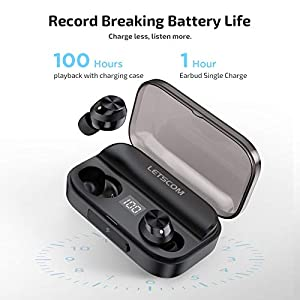 Wireless Earbuds, Letscom Bluetooth 5.0 Headphones IPX6 Sweat Proof, 80 Hours Playtime with Wireless Charging Case, HD Stereo Built-in Mic in-Ear Sports Earphones for Running Gym Workout