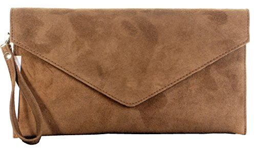Italian Suede Leather Dark Beige Envelope Design Clutch Wrist Shoulder Crossbody Bag