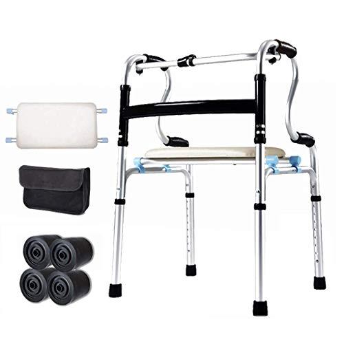 Giow Professionelle Gehhilfe Verstellbare Gehhilfe aus Aluminiumlegierung mit Sitzbrett für ältere Menschen, Senioren, Behinderte, max. 180 kg (400 lbs)