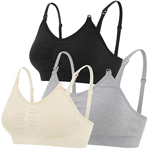 Nursing Bras, Maternity Breastfeeding Intimates, Seamless Wire-Free, 3 Pack (Black, Light Nude, Light Grey, X-Large)