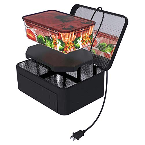 Portable Food Warmer Heated Lunch Boxes Mini Oven Personal Microwave Tote Prepared Meals Reheat & Raw Food Slow Cooker in Home/Office/Kitchen by Aotto(110V,Black)