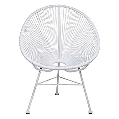 Design Tree Home Acapulco Indoor /Outdoor Lounge Chair, White Weave on White Frame