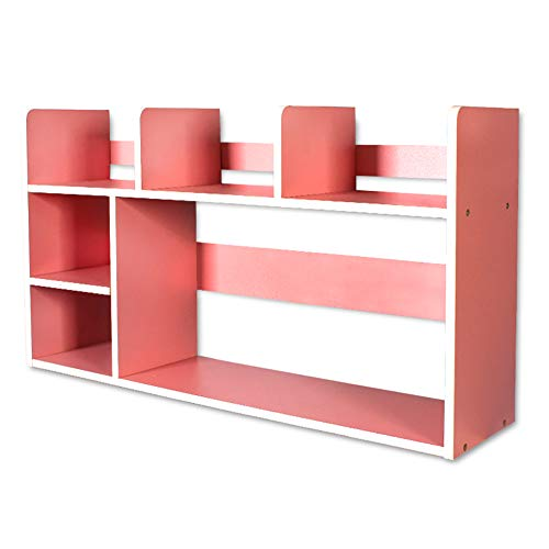DULPLAY Schreibtisch Verstellbar Bücherschrank, Moderne Für Kinder Offene Regale Holz Storage Organizer Regal-Display Rack Für datensätze & bücher -Rosa 80x20x46cm(31x8x18inch)