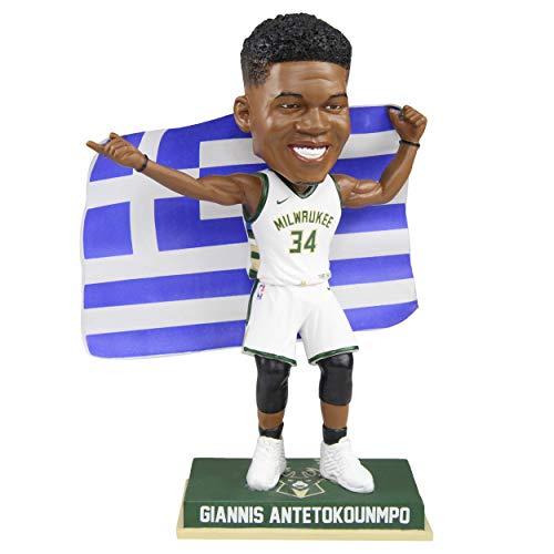 Giannis Antetokounmpo Milwaukee Bucks Greek Flag - White Jersey - Numbered to 504 Bobblehead NBA