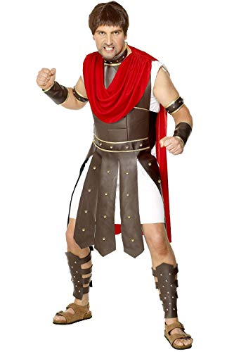 Smiffys- Disfraz de centurión, con Toga y Accesorios de Armadura para piernas, Brazos, muñecas y Cuello, Color marrón, L - Tamaño 42