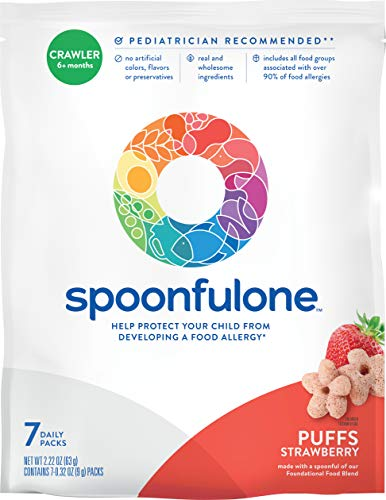 SpoonfulOne Early Allergen Introduction Puffs | Smart Feeding Snack for an Infant or Baby 6+ Months | Certified Organic (Strawberry - 7 Pack)