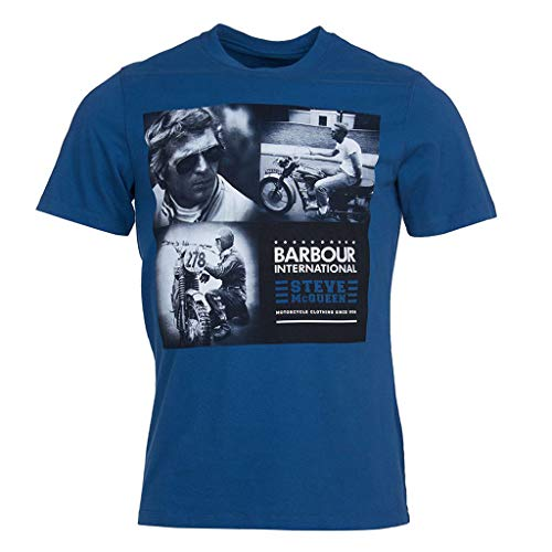 Barbour Batee0394-BL55 International SMQ Triple T-Shirt Uomo 100% Cotone Royal Blue Regular Fit (XL, Royal Blue)
