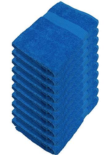Miamar Juego de 10 toallas de invitados, 30 x 50 cm, suaves, absorbentes, en 15 colores, disponible en 500 g/m², 100% algodón, certificado Öko-Tex Royal, color azul