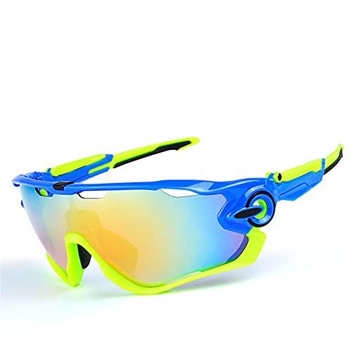 ERWEI Gafas de Sol Deportivas, Gafas de Sol Deportivas de Ciclismo polarizado para Hombres Mujeres con 5 lenos Intercambiables para Correr la conducción de Golf de béisbol,J
