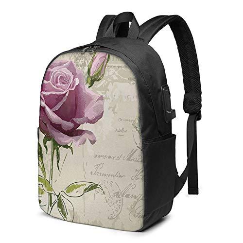 Laptop Rucksack Business Rucksack für 17 Zoll Laptop, Postkarte Zarte Rosenblüte Schulrucksack Mit USB Port für Arbeit Wandern Reisen Camping, für Herren Damen