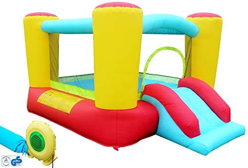 Hüpfburg Kinder Indoor und Outdoor mit Gebläse XL Jump House Komplett-Set aufblasbar Rutsche Spielhaus Ritterburg Outdoor Spielburg Rutsche Draußen Party Spring-Schloss (250x200x160cm)