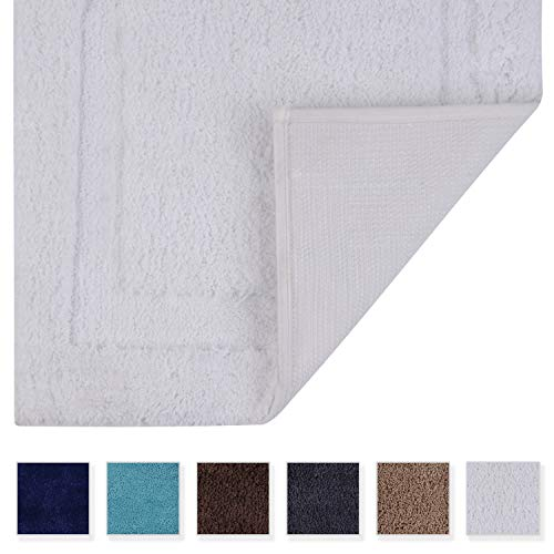 TOMORO Non-Slip Bathroom Rug Super Absorbent Bath Mat Extra Soft Microfibers Non-Skid TPR Bottom (17.5 x 27 inch, White)