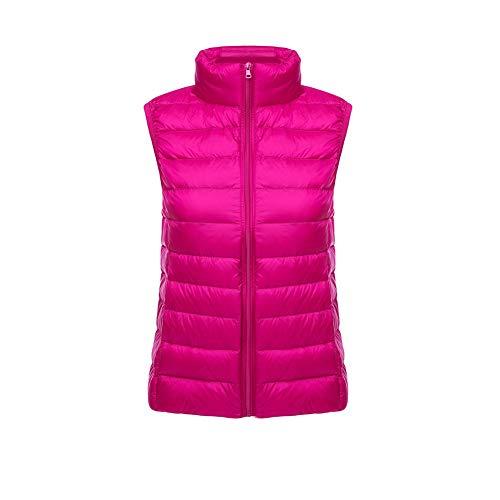 CHIYEEE Packbar Damen Daunenweste Jacke Gilet Puffer Coat Ultraleichter Zip Up Puffer Coat Pufferjacke Rosenrot XL