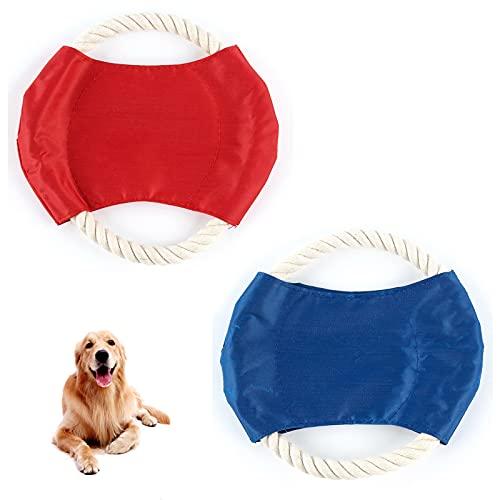Basetousual 2 Piezas Frisbee para Perros, Platillo Volador de Perro, Juguetes de Entrenamiento Interactivos para Exteriores, Juguete para Masticar, para Perros Medianos Grandes