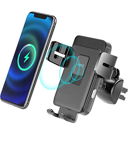 Wireless Car Charger Mount, 15W Qi Fast Charging Auto-Clamping Car Mount, Windshield Air Vent Car Phone Mount Compatible with iPhone 12 Pro Max/12 pro/12/11/XS/8, Galaxy S20/S20+ and More