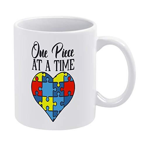 Taza de café One Piece at A Time para hombres y mujeres amigas cumpleaños 325 ml de cerámica blanca