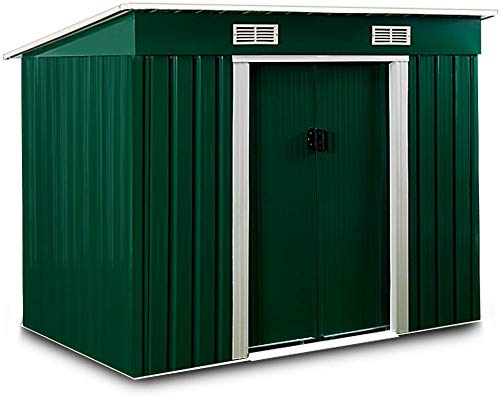Rugged Outdoor roof Garden Metal Tool Storage shed Suitable for Storing Bikes Often,Green