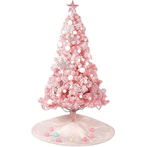 Árbol de Navidad Árbol de Navidad grande con base resistente y faldón de árbol Árbol de Navidad artificial con ramas de árbol rosa y bolas decorativas Cadena de luz LED de 3000 K Abeto nórdico