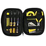15 Pcs Electrician Tool Kit, Globalstore Basic Household Tool Kit, Repair Tool Set, Multifunction Electrician Tools with Test Pen, Screwdrivers, Pliers, Measuring Tape, Allen Wrench, Utility Knife