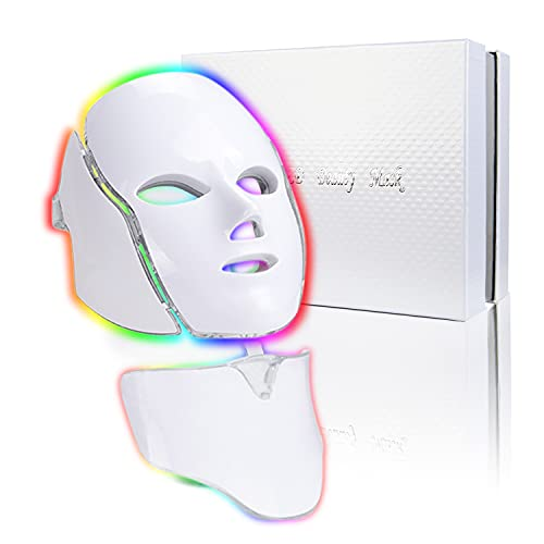 Led Face Mask Light Therapy - 7 Color Photon Blue...