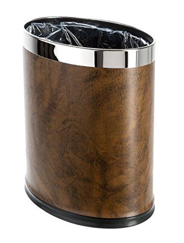 LUXEHOME sovrapposizioni, in pelle, forma ovale, in metallo, con cestino, capacità: 8 litri, 2 Gal/un look elegante, senza sacchetti, colori assortiti, metallo, marrone, 2 gallon