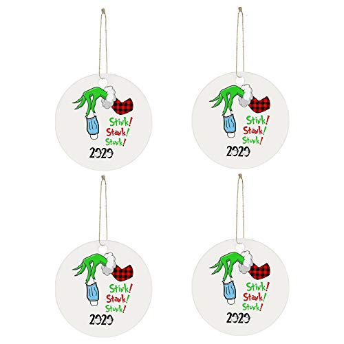 2020 Stink Stank Stunk Christmas Ornaments, Unique Christmas Hanging Ornament for Christmas Tree Decorations, Christmas Decorating Set Creative Friends Gift for Family Friends (4PC, B)