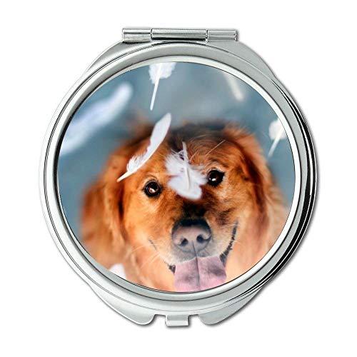 Yanteng Spiegel, Schminkspiegel, Funny Cute Mops Hund, Taschenspiegel, 1 X 2X Lupe