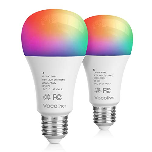 VOCOlinc Wi-Fi LED Light Bulb Works with Apple HomeKit Siri A21 9.5W(60W) Smart Multicolor RGB App-dimmable Compatible with Alexa Google Assistant No Hub Required 2.4GHz SmartGlow (2PACK)