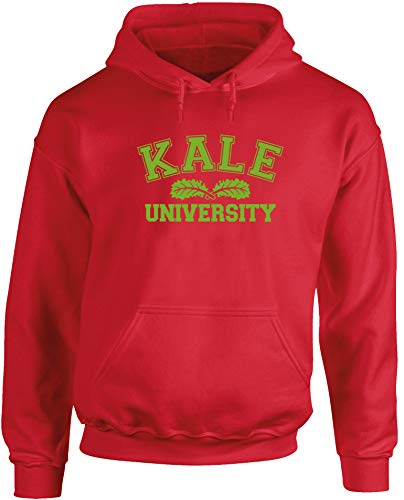 Hippowarehouse Kale University Unisex Hoodie Hooded top (Specific Size Guide in Description) Red
